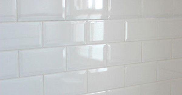 Sample of 20x10cm Metro Black Gloss Bevelled Edge Tile