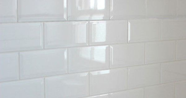 Metro 20x10cm White Gloss Beveled Edge Tiles 1 Box Sqm 50 Tiles