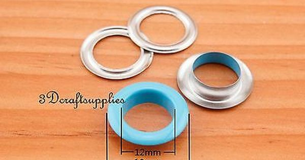 eyelets metal with washer grommets light blue round 60 sets 12 mm CK72