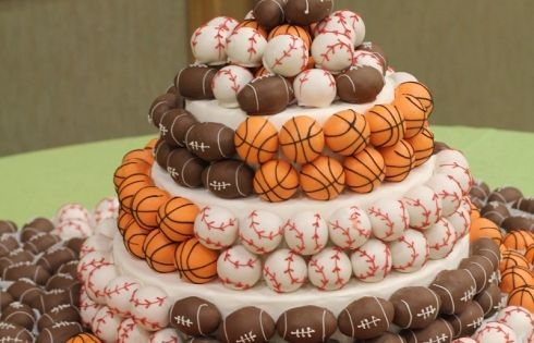 sports cake balls... great idea for a boys birthday party