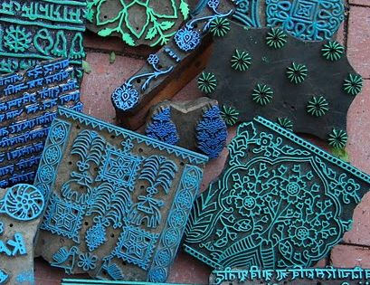 wonderful blue! wood block printing