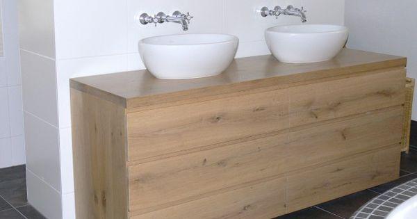 Badmeubel van eikenhout met 3 laden badkamer pinterest met - Badkamer meubel model ...
