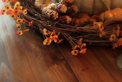 Autumn Centerpiece in a Grapevine Wreath ♥