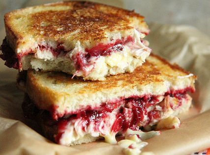 Roasted Turkey, Cranberry and brie grilled cheese recipe via @Heather Christo