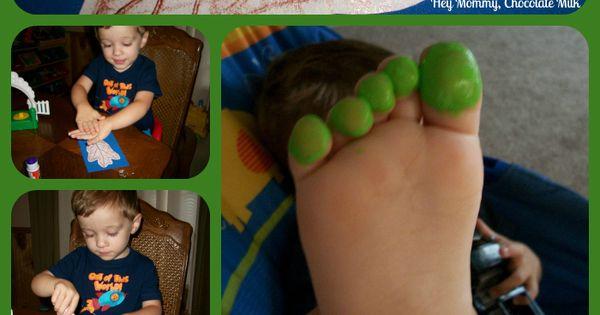 Caterpillar toe art on leaf rubbing.