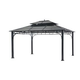 Sunjoy Black Primary Material Rectangle Permanent Gazebo Exterior 10 Ft X 12 Ft Foundation 12 Ft X 10 Feet Lowes Com Permanent Gazebo Gazebo House Paint Exterior