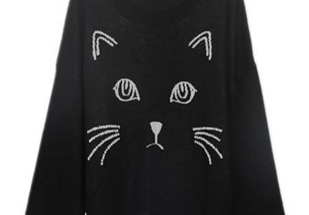 Black Embroidered Cat Round Neck Loose Sweater $30....because one cannot have too