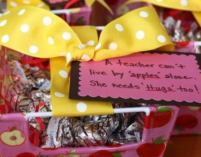 Teacher Gifts Chocolate hugs in an apple basket -- teacher appreciation gift