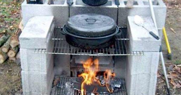 Outdoor Cement Block Fireplace  brick stove  Pinterest  집 디자인 및 좋은 ...