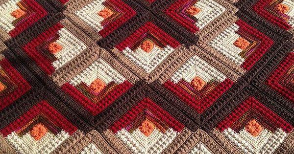 Log Cabin Crochet Quilt Red Heart And Ravelry Crochet Pinterest 코바늘