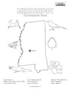 United States Coloring Pages Teaching Squared Mississippi History Mississippi Facts Louisiana Facts