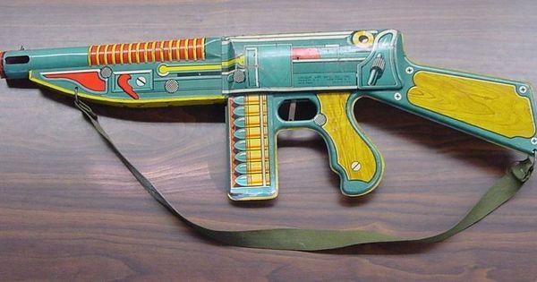 Vintage toy wooden machine gun where can