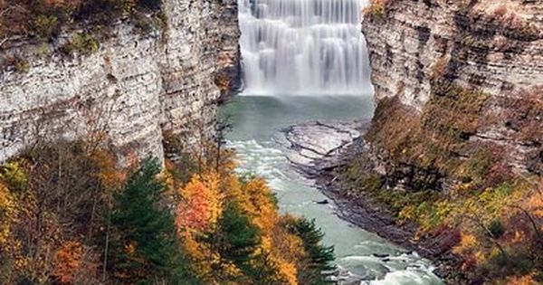 Middle Falls on the Genesee River in Letchworth State Park ~ Castile,