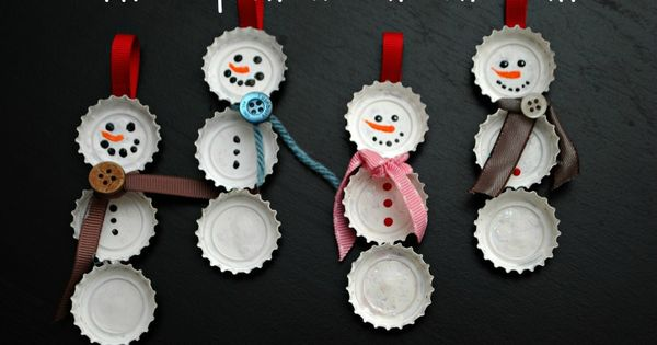 Handmade Christmas Decorations - Bottle Cap Snowmen - Click pic for 25