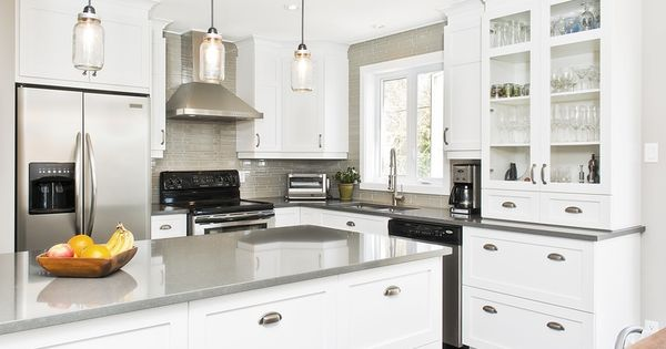 armoires blanche comptoir gris google search cuisine. Black Bedroom Furniture Sets. Home Design Ideas
