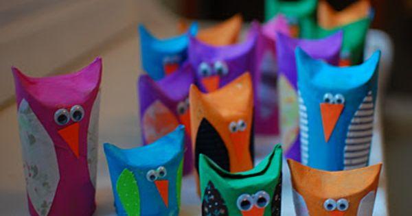 Toilet paper tube owl craft