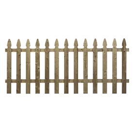 Shop Wood Fencing Spaced Picket French Gothic 42 X 8 Pressure Treated At Lowe S Wood Fence Fence Panels Wood Picket Fence