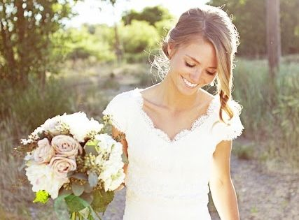 LOVE this wedding idea... lace dress and outside! :)