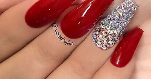 Pin By Erica G On Red Nails Red Nails Glitter Coffin Nails Designs Red Acrylic Nails