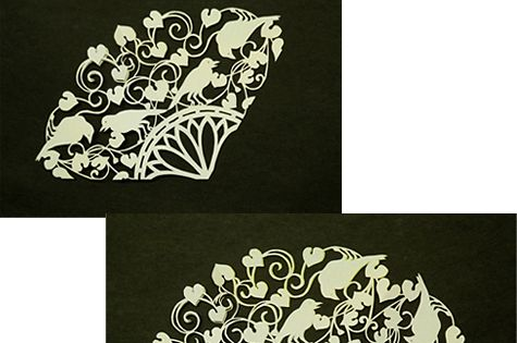 Japanese kirigami art (cut paper) by Syandery.