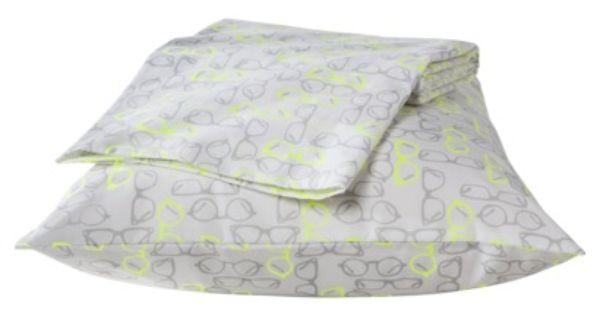 Room Essentials Target Fall 2013 Easy Care Dorm Sheet Set In Gray Glasses Dorm Sheet Sets Room Essentials Dorm Sheets