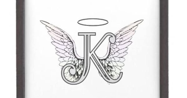 letter k initial monogram with angel wings halo gift box angel wings and tattoo. Black Bedroom Furniture Sets. Home Design Ideas
