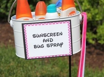 Sunscreen and bug spray for an outdoor wedding - great idea for