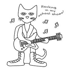 Pete The Cat Rocking In My School Shoes Coloring Page Cat