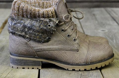 Mountain Trek Taupe Cuffed Ankle Boots amazinglace.com winter boots
