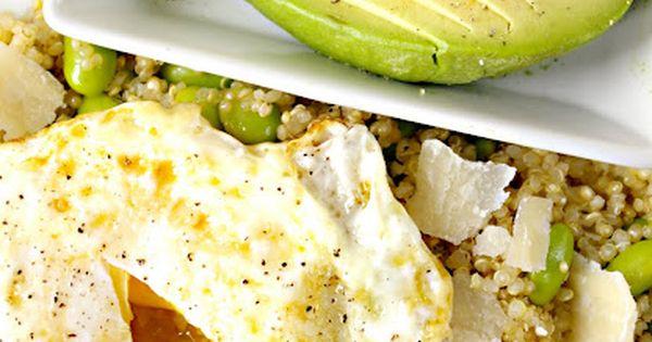 Quinoa, egg, avocado, edamame recipe