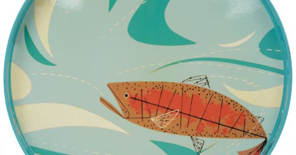 Charley harper lacquer orange fish tray for Charley s fishing