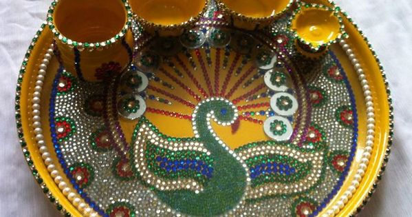 Pooja room designs pooja room designs pinterest design for Aarti thali decoration with kundan