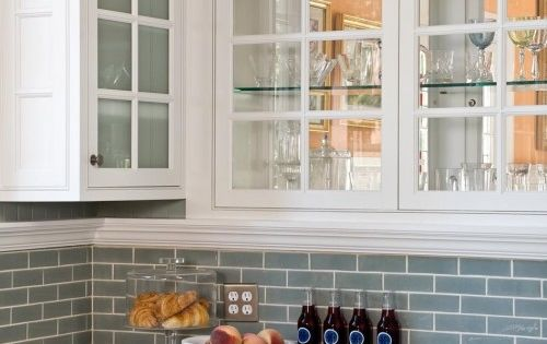 backsplash ideas for white cabinets | Blue Glass Tile - Transitional -