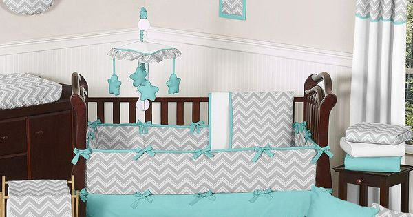 Sweet jojo designs grey and turquoise zig zag 9 piece crib for Zig zag bedroom ideas