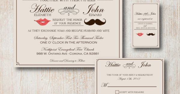 Mustache lips invitations wedding pinterest for Wedding invitation printing prices