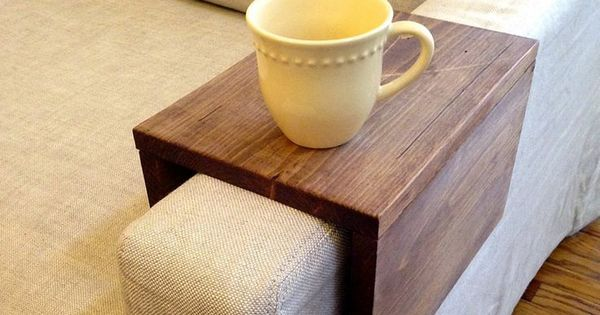Reclaimed wood couch arm table. It's so simple, but so genius. Can't