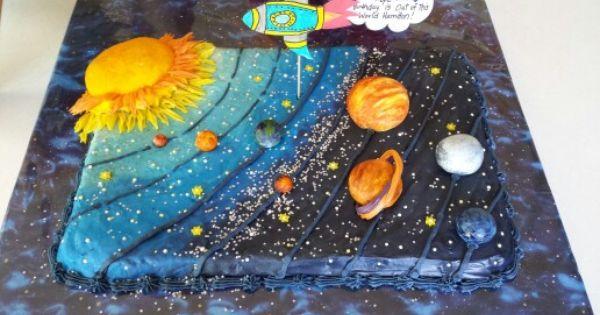 Solar System Blueberry Birthday Cake For My Nephew