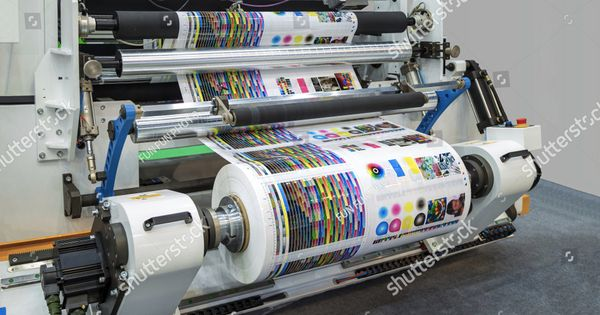 Large Offset Printing Press Or Magazine Running A Long Roll Off Paper In Production Line Of Industrial Printer Machine Offset Printing Printing Press Prints