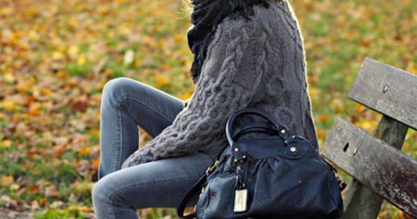 {Casual Chunky Grey Sweater With Scarf and Booties} perfect Fall outfit.