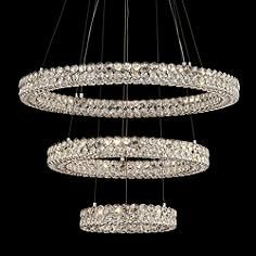 Perriello 27 1 2 W Tiered Led Crystal Ring Pendant Crystal Rings