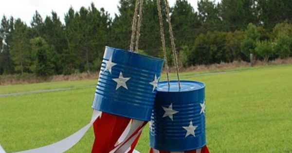 Fourth of July craft with tin cans