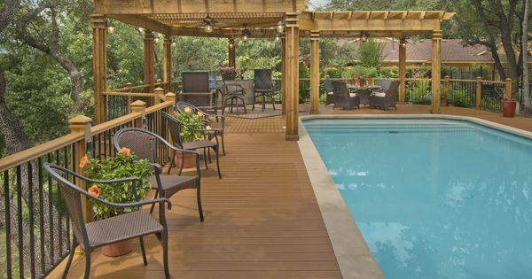 Low maintenance pool deck with cedar pergola landscaping for Low maintenance pool landscaping