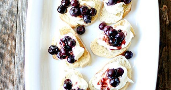 Roasted Blueberry and Ricotta Crostini | Recipe | Ricotta, Blueberries ...