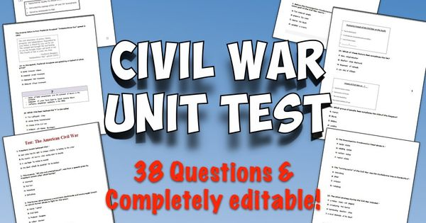 Civil War Test and Answer Key | Frederick douglass and ...