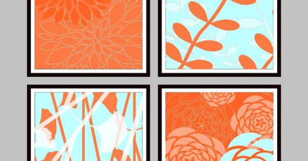 Orange Blue Green Botanical Wall Art Collage Prints My