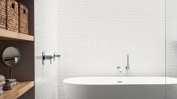 77 Gorgeous Examples Of Scandinavian Interior Design Scandinavian Bathroom With White Statement Bath April 2 2017 At 06 43am Bagoes Teak Furniture Indonesia Best Teak Furniture Manufacturer