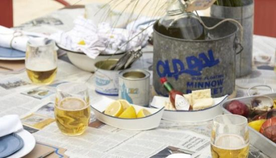Tablescapes For Summer Oyster Roast Newspaper For