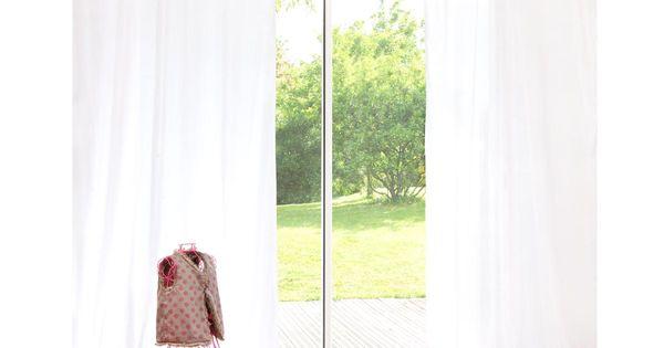 Cortina con lazos de algod n blanco 110 250 pinkplanet - Lazos para cortinas ...