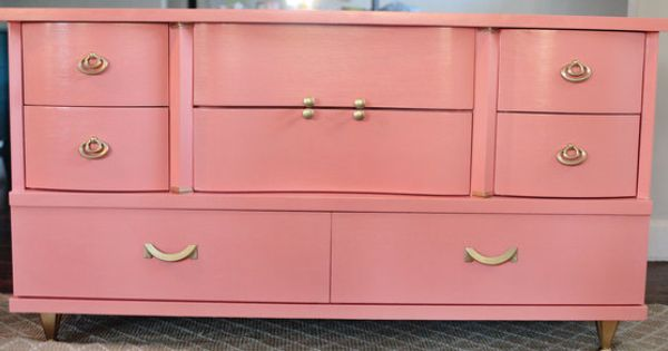 Vintage Mid Century Bow Front Dresser In Coral In
