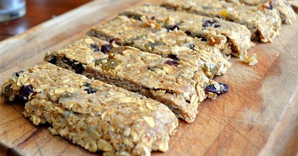 Easy homemade peanut butter, coconut, and fruit granola bars... Haven't made them